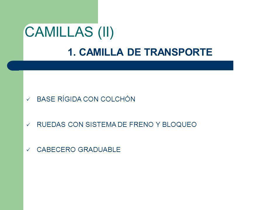 CAMILLAS (II) 1. CAMILLA DE TRANSPORTE BASE RÍGIDA CON COLCHÓN RUEDAS CON SISTEMA DE FRENO Y BLOQUEO CABECERO GRADUABLE