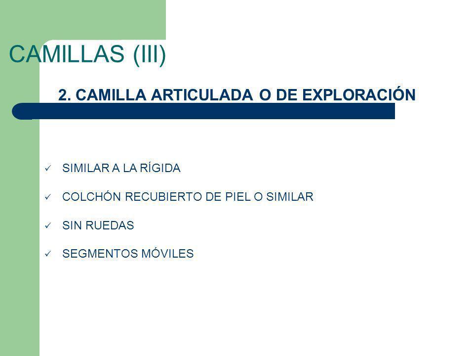 CAMILLAS (III) 2. CAMILLA ARTICULADA O DE EXPLORACIÓN SIMILAR A LA RÍGIDA COLCHÓN RECUBIERTO DE PIEL O SIMILAR SIN RUEDAS SEGMENTOS MÓVILES