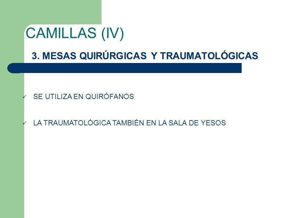CAMILLAS (IV) 3. MESAS QUIRÚRGICAS Y TRAUMATOLÓGICAS SE UTILIZA EN QUIRÓFANOS LA TRAUMATOLÓGICA TAMBIÉN EN LA SALA DE YESOS