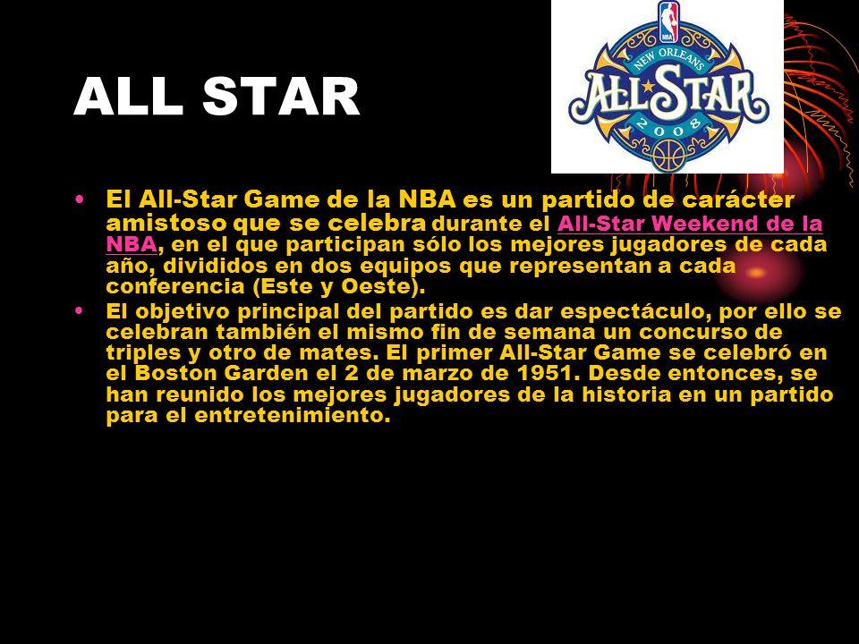 ALL STAR El All-Star Game de la NBA es un partido de carácter amistoso que se celebra durante el All-Star Weekend de la NBA, en el que participan sólo