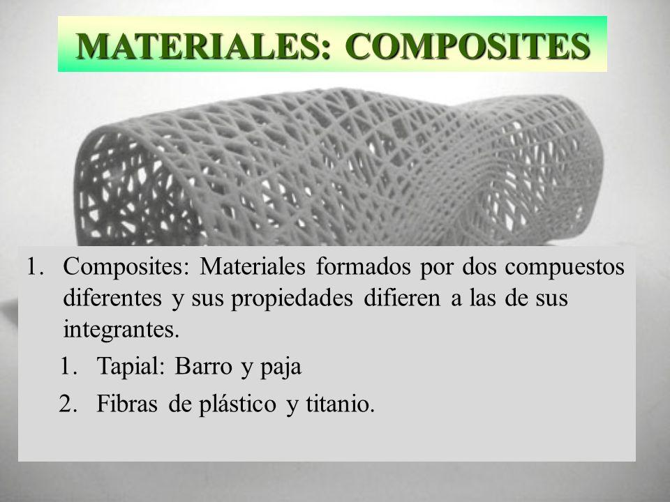 MATERIALES: COMPOSITES 1.Composites: Materiales formados por dos compuestos diferentes y sus propiedades difieren a las de sus integrantes. 1.Tapial: