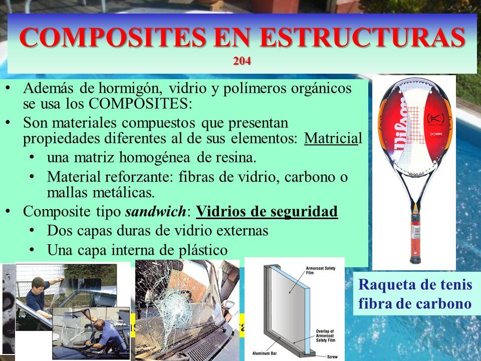 COMPOSITES EN ESTRUCTURAS 204 Además de hormigón, vidrio y polímeros orgánicos se usa los COMPOSITES: Son materiales compuestos que presentan propieda