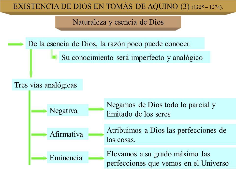 EXISTENCIA DE DIOS EN TOMÁS DE AQUINO (3) (1225 – 1274). Naturaleza y esencia de Dios De la esencia de Dios, la razón poco puede conocer. Su conocimie