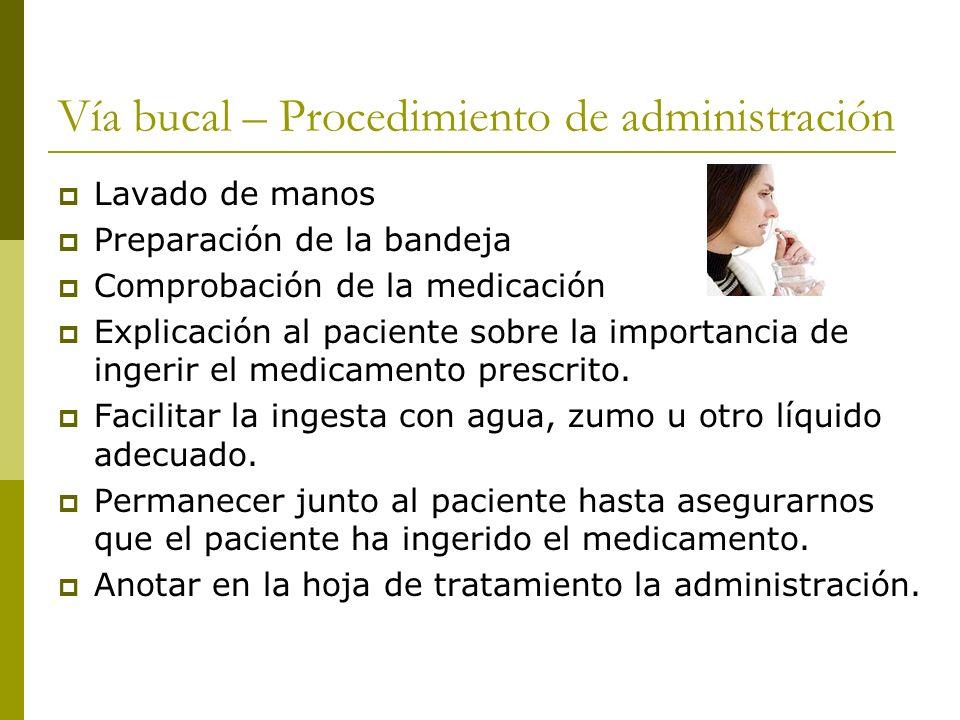 Vía bucal – Procedimiento de administración Lavado de manos Preparación de la bandeja Comprobación de la medicación Explicación al paciente sobre la i