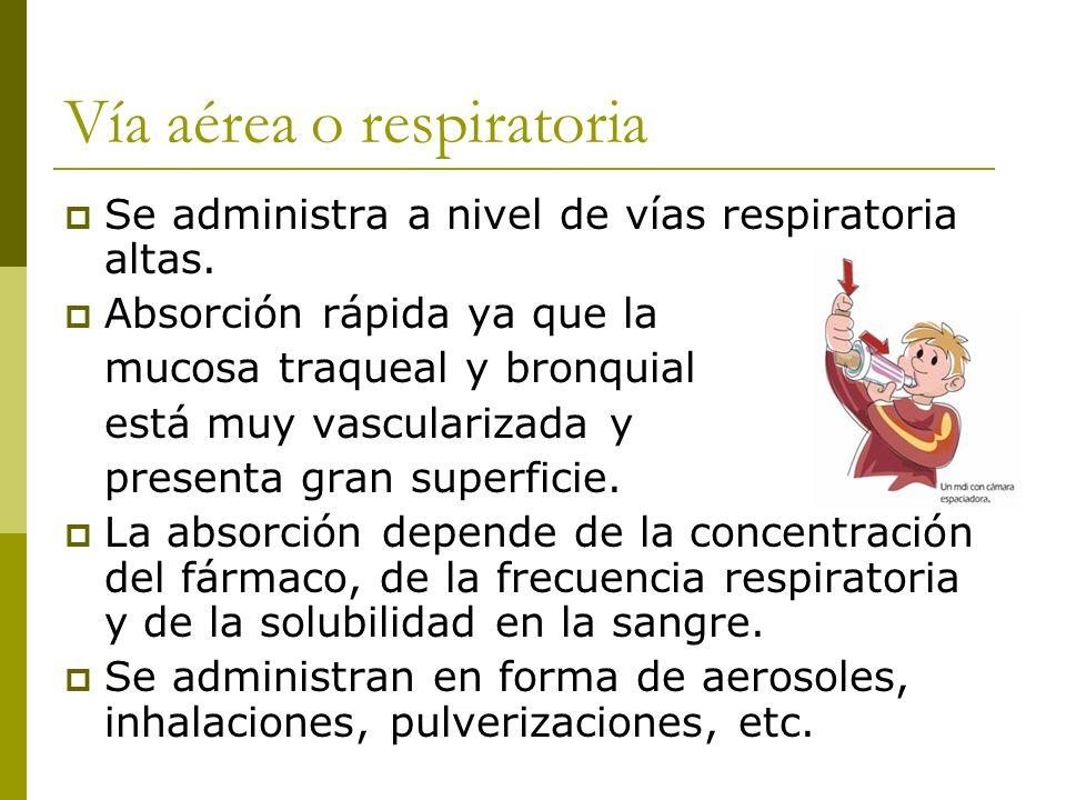 Vía aérea o respiratoria Se administra a nivel de vías respiratoria altas. Absorción rápida ya que la mucosa traqueal y bronquial está muy vasculariza