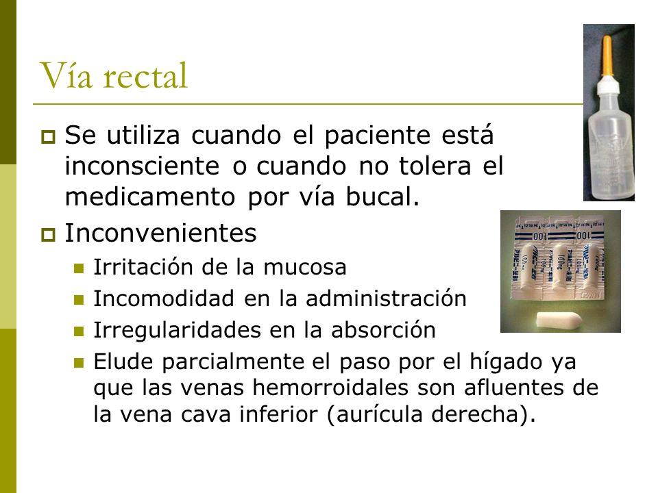Vía rectal Se utiliza cuando el paciente está inconsciente o cuando no tolera el medicamento por vía bucal. Inconvenientes Irritación de la mucosa Inc
