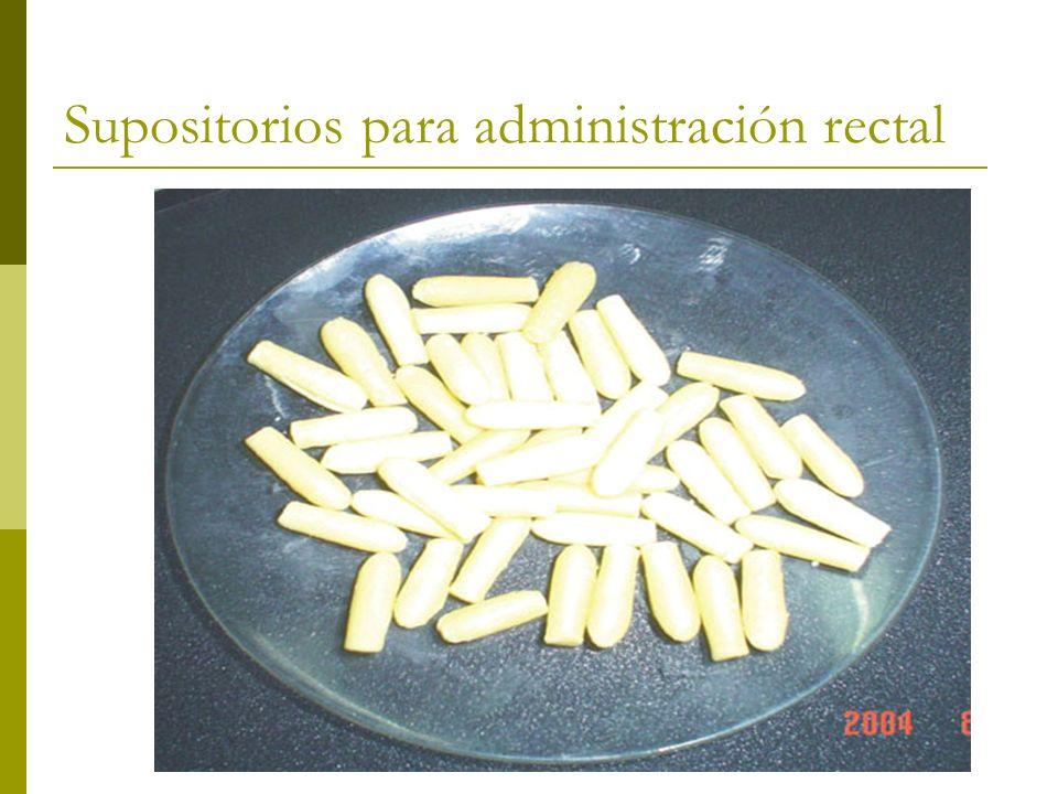 Supositorios para administración rectal