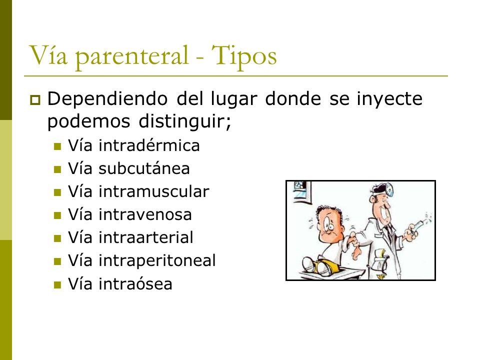 Vía parenteral - Tipos Dependiendo del lugar donde se inyecte podemos distinguir; Vía intradérmica Vía subcutánea Vía intramuscular Vía intravenosa Ví