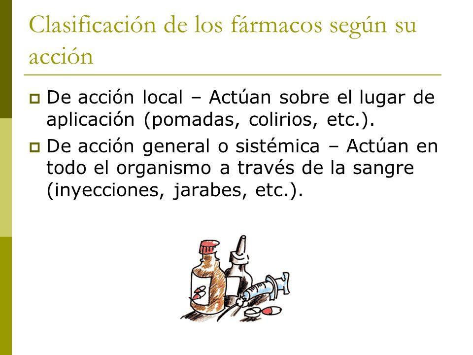 Clasificación de los fármacos según su acción De acción local – Actúan sobre el lugar de aplicación (pomadas, colirios, etc.). De acción general o sis