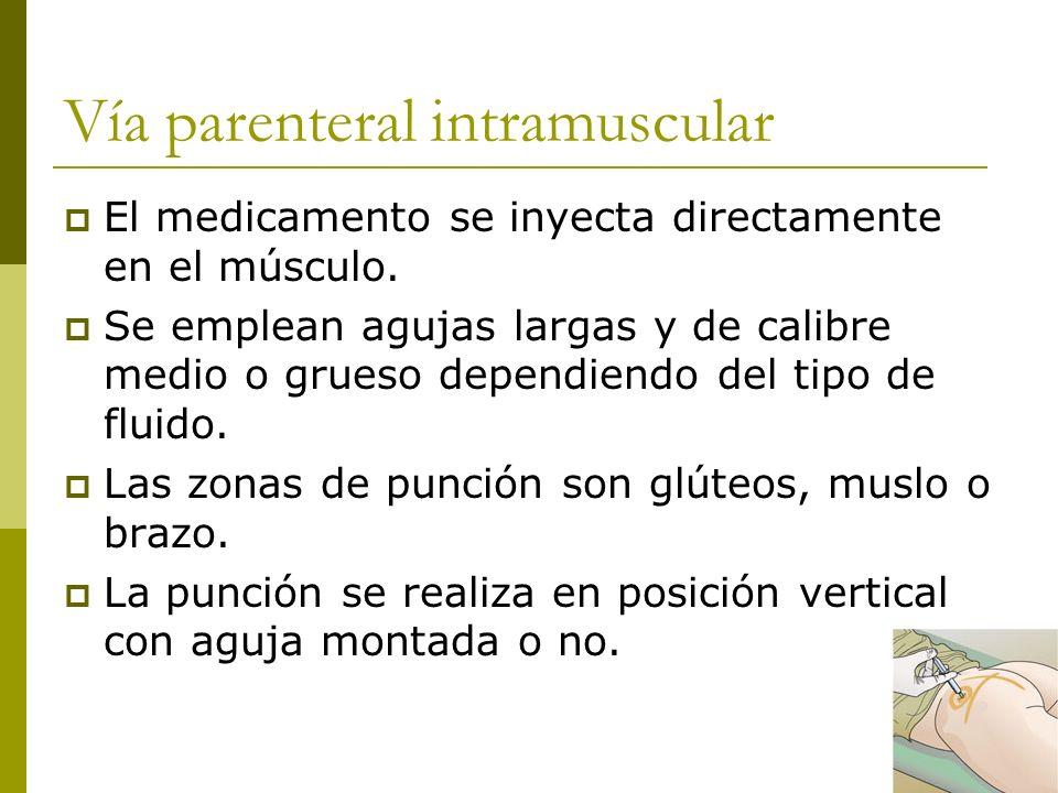 Vía parenteral intramuscular El medicamento se inyecta directamente en el músculo. Se emplean agujas largas y de calibre medio o grueso dependiendo de