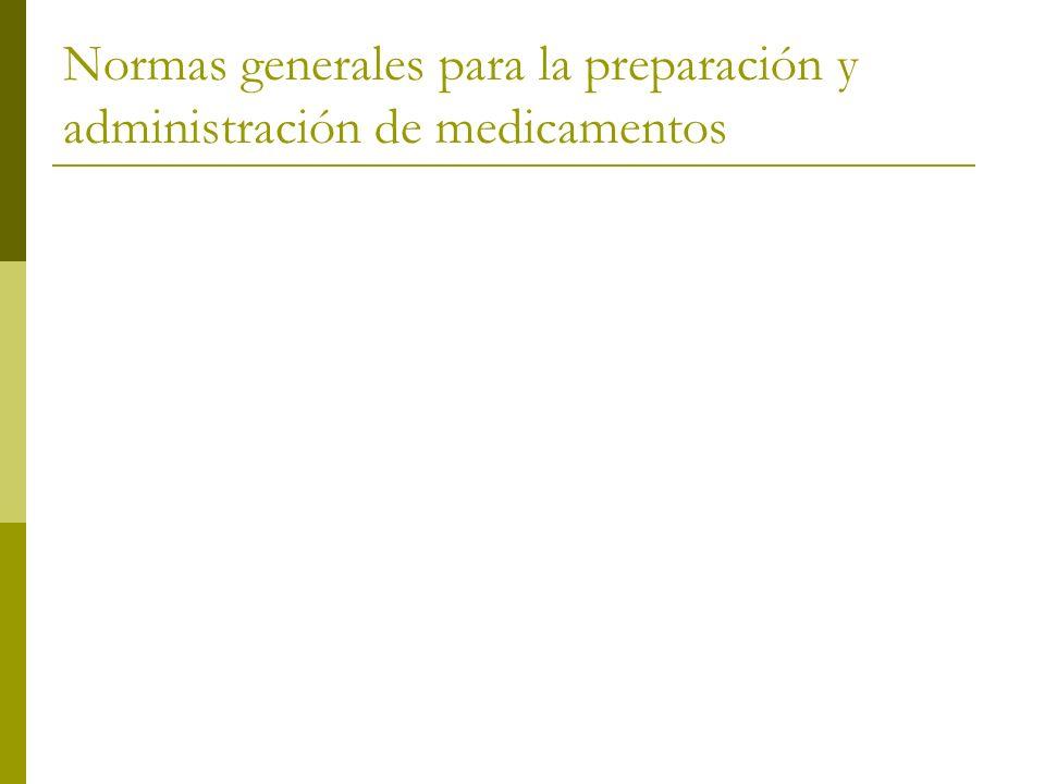 Normas generales para la preparación y administración de medicamentos