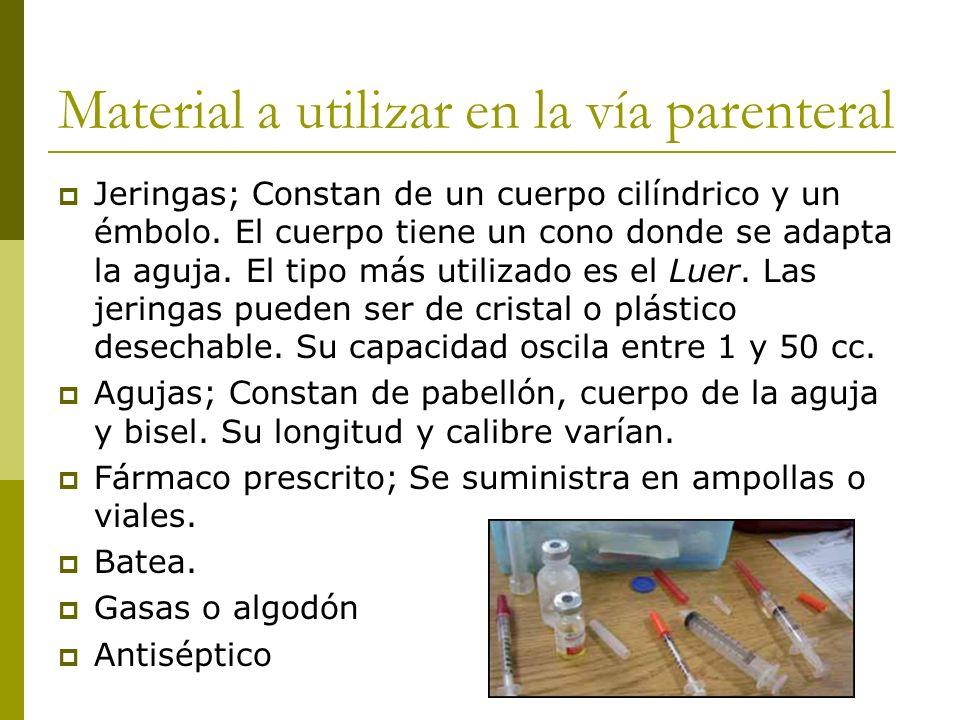 Material a utilizar en la vía parenteral Jeringas; Constan de un cuerpo cilíndrico y un émbolo. El cuerpo tiene un cono donde se adapta la aguja. El t