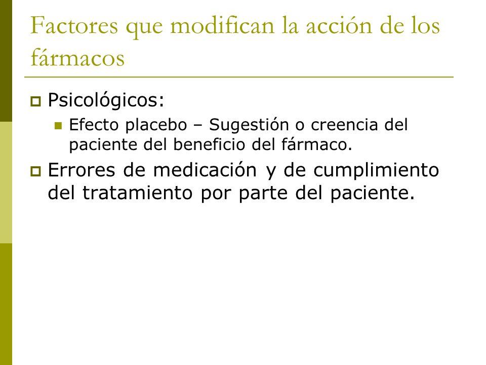 Factores que modifican la acción de los fármacos Psicológicos: Efecto placebo – Sugestión o creencia del paciente del beneficio del fármaco. Errores d