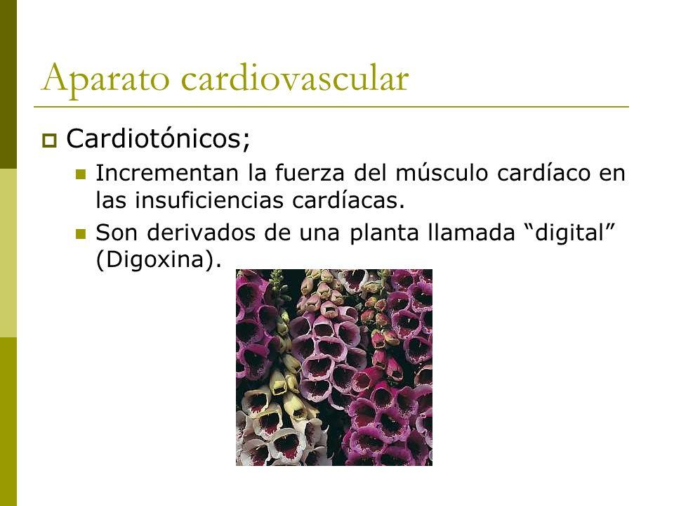 Aparato cardiovascular Cardiotónicos; Incrementan la fuerza del músculo cardíaco en las insuficiencias cardíacas. Son derivados de una planta llamada