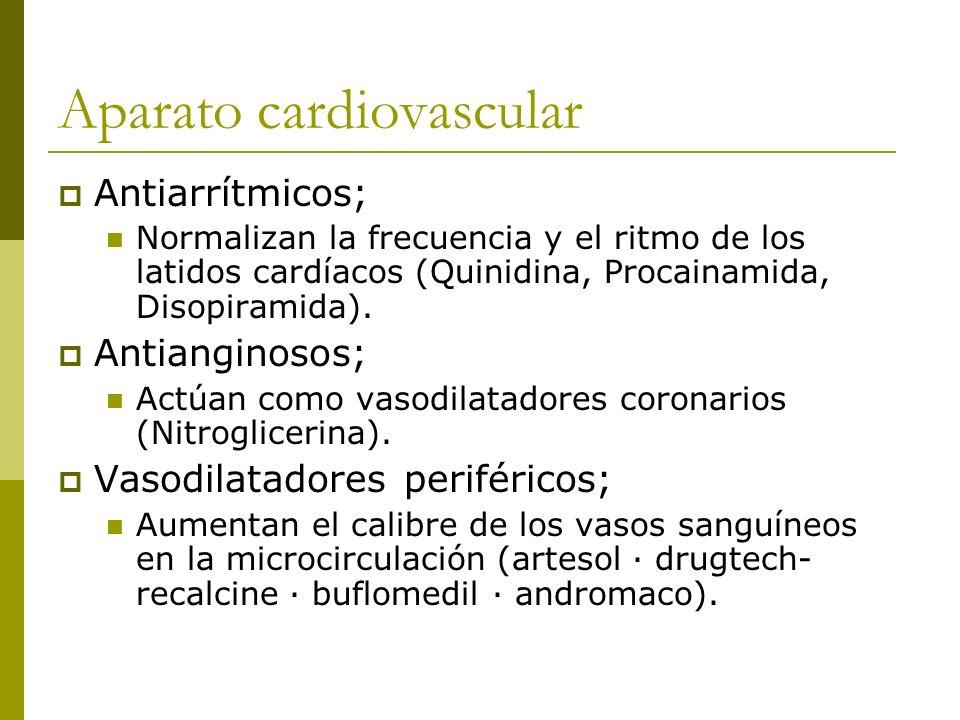 Aparato cardiovascular Antiarrítmicos; Normalizan la frecuencia y el ritmo de los latidos cardíacos (Quinidina, Procainamida, Disopiramida). Antiangin