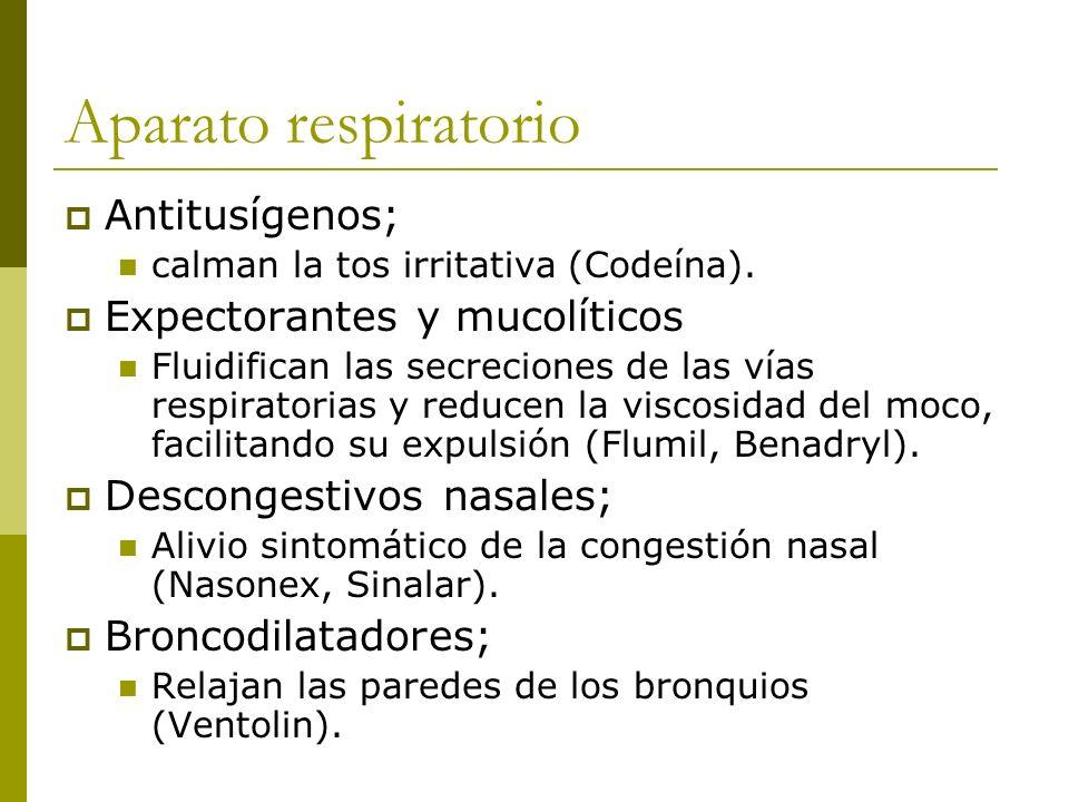 Aparato respiratorio Antitusígenos; calman la tos irritativa (Codeína). Expectorantes y mucolíticos Fluidifican las secreciones de las vías respirator