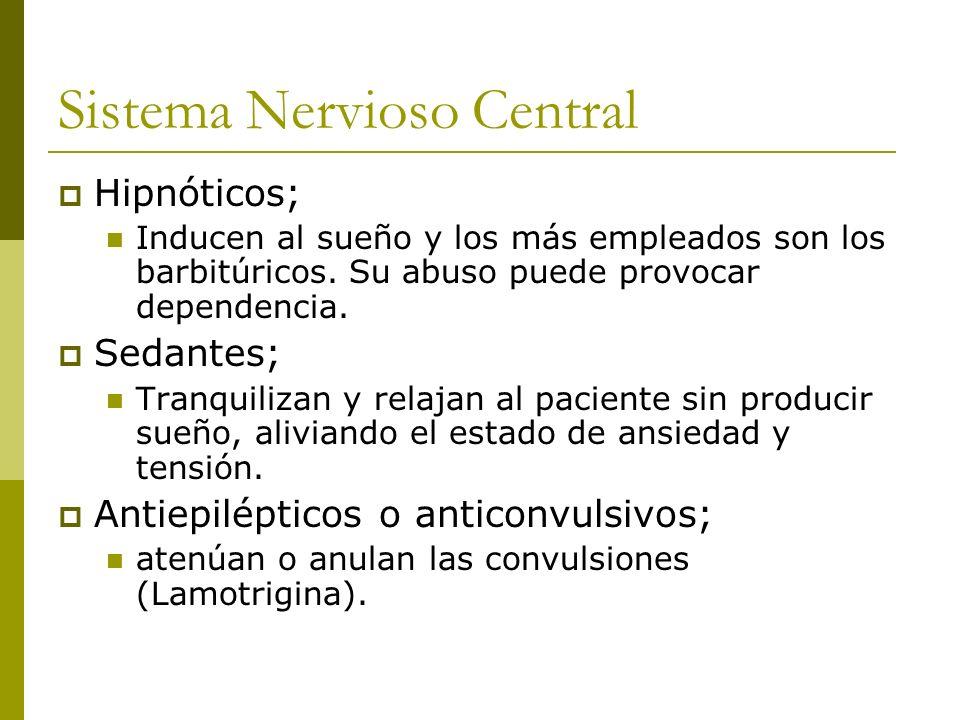 Sistema Nervioso Central Hipnóticos; Inducen al sueño y los más empleados son los barbitúricos. Su abuso puede provocar dependencia. Sedantes; Tranqui
