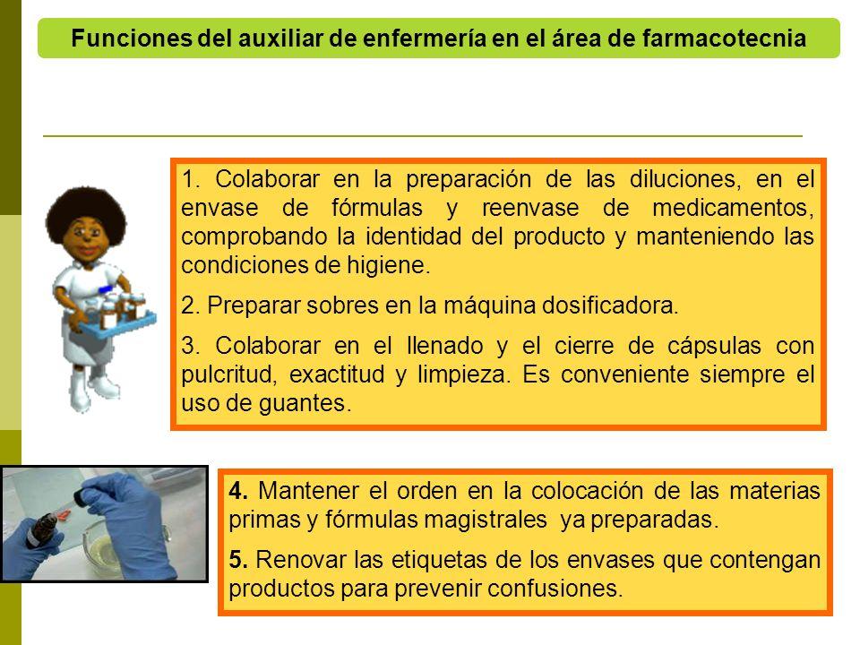 4. Mantener el orden en la colocación de las materias primas y fórmulas magistrales ya preparadas. 5. Renovar las etiquetas de los envases que conteng