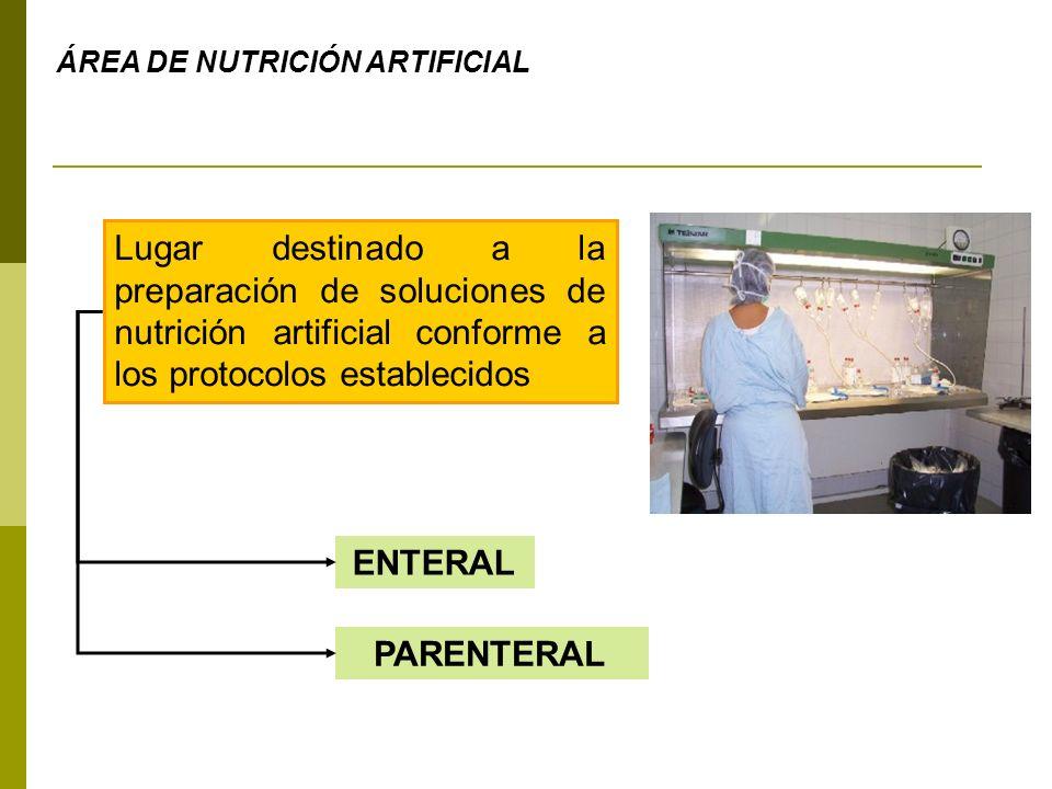 ÁREA DE NUTRICIÓN ARTIFICIAL Lugar destinado a la preparación de soluciones de nutrición artificial conforme a los protocolos establecidos ENTERAL PAR
