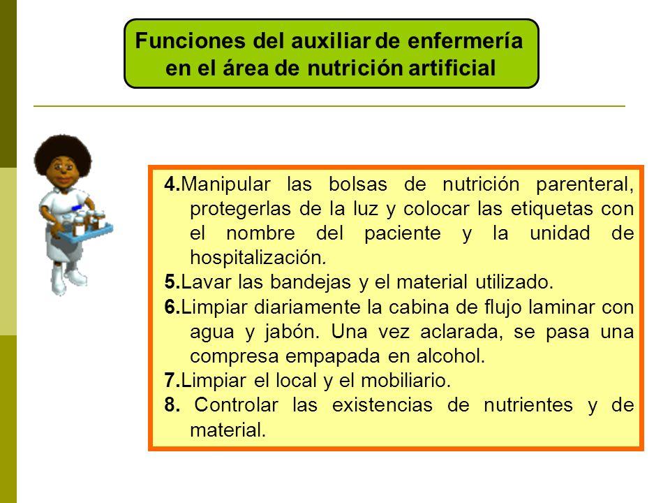 4.Manipular las bolsas de nutrición parenteral, protegerlas de la luz y colocar las etiquetas con el nombre del paciente y la unidad de hospitalizació