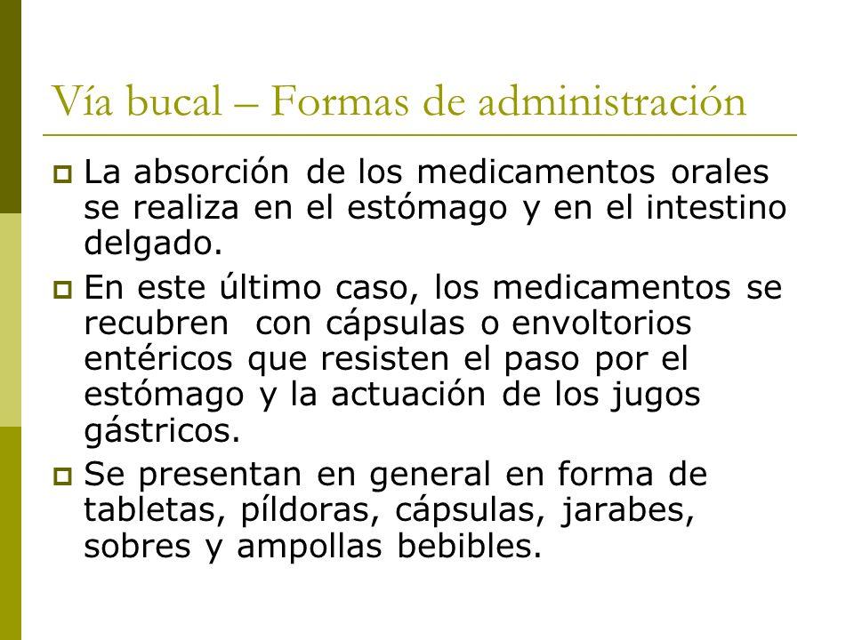 Vía bucal – Formas de administración La absorción de los medicamentos orales se realiza en el estómago y en el intestino delgado. En este último caso,