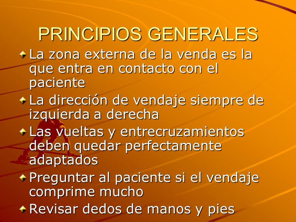 PRINCIPIOS GENERALES La zona externa de la venda es la que entra en contacto con el paciente La dirección de vendaje siempre de izquierda a derecha La