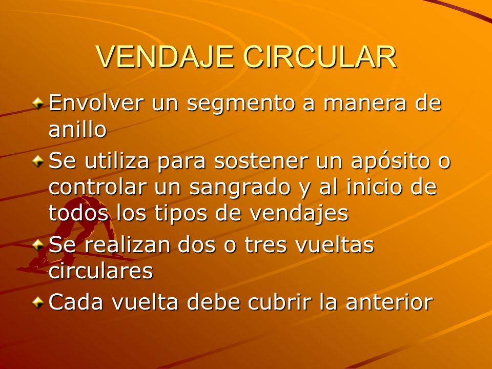 VENDAJE CIRCULAR Envolver un segmento a manera de anillo Se utiliza para sostener un apósito o controlar un sangrado y al inicio de todos los tipos de