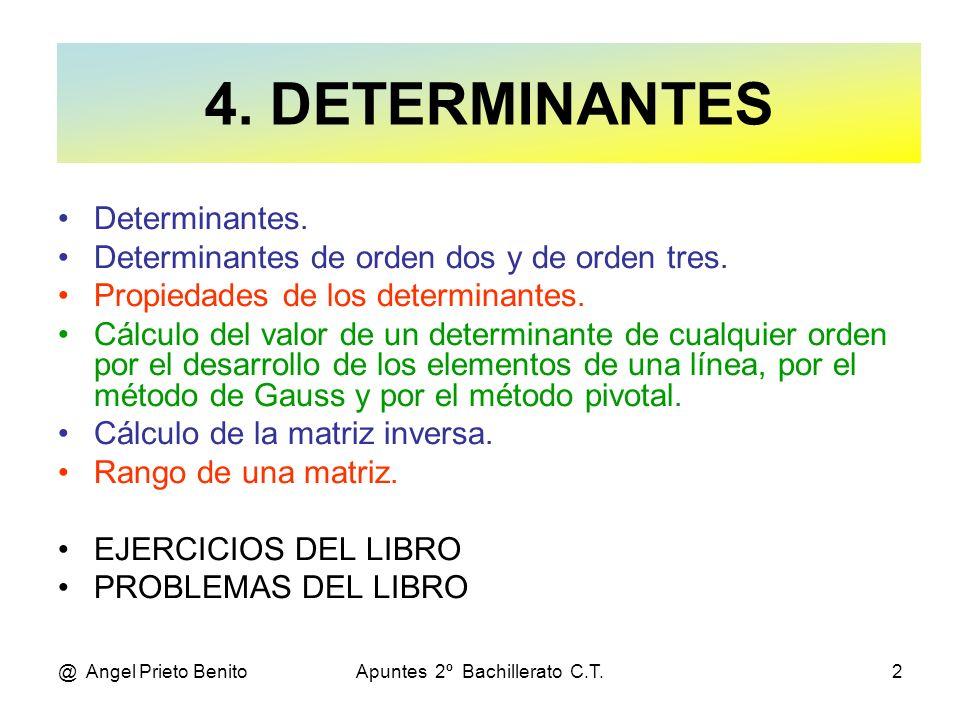 @ Angel Prieto BenitoApuntes 2º Bachillerato C.T.2 Determinantes. Determinantes de orden dos y de orden tres. Propiedades de los determinantes. Cálcul