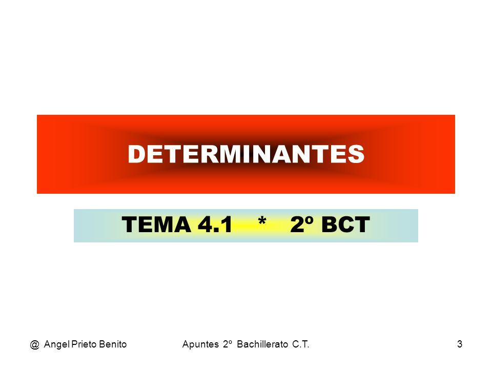 @ Angel Prieto BenitoApuntes 2º Bachillerato C.T.3 DETERMINANTES TEMA 4.1 * 2º BCT
