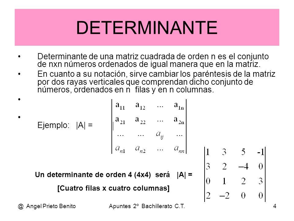 @ Angel Prieto BenitoApuntes 2º Bachillerato C.T.4 DETERMINANTE Determinante de una matriz cuadrada de orden n es el conjunto de nxn números ordenados