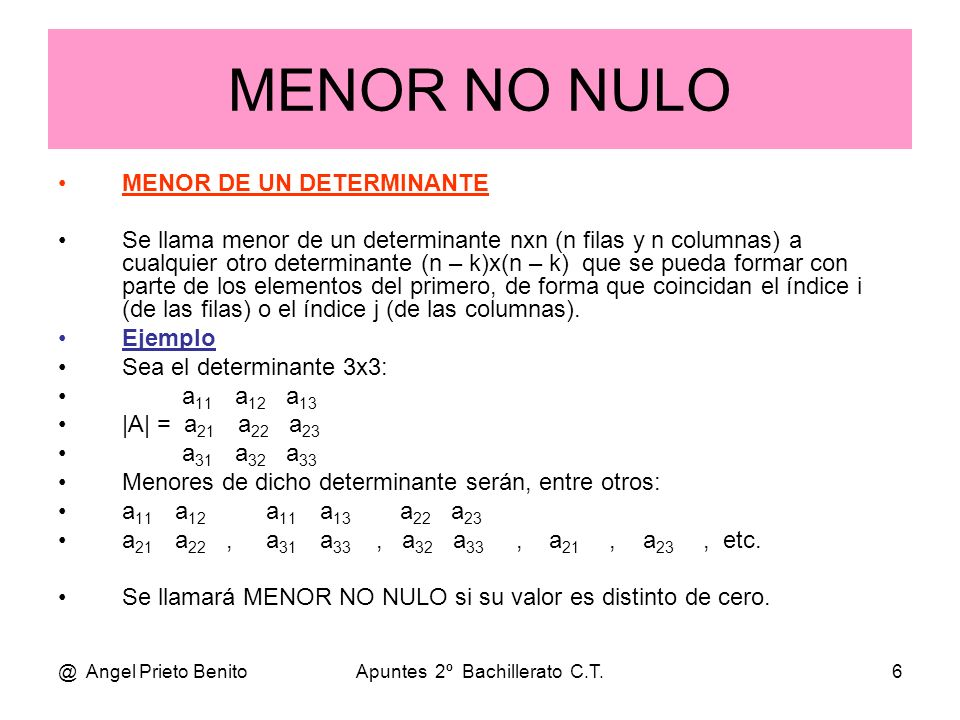 @ Angel Prieto BenitoApuntes 2º Bachillerato C.T.6 MENOR NO NULO MENOR DE UN DETERMINANTE Se llama menor de un determinante nxn (n filas y n columnas)