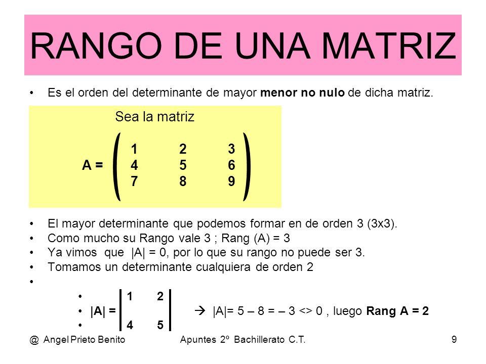 @ Angel Prieto BenitoApuntes 2º Bachillerato C.T.9 Es el orden del determinante de mayor menor no nulo de dicha matriz. El mayor determinante que pode