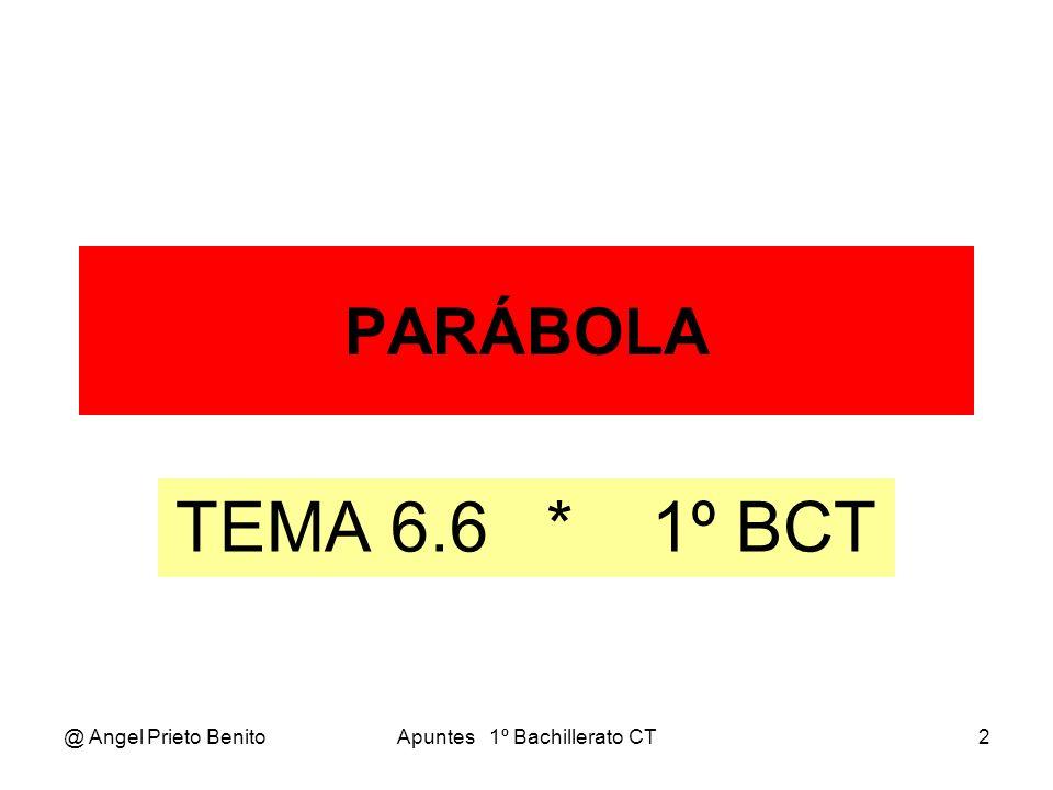 @ Angel Prieto BenitoApuntes 1º Bachillerato CT2 PARÁBOLA TEMA 6.6 * 1º BCT