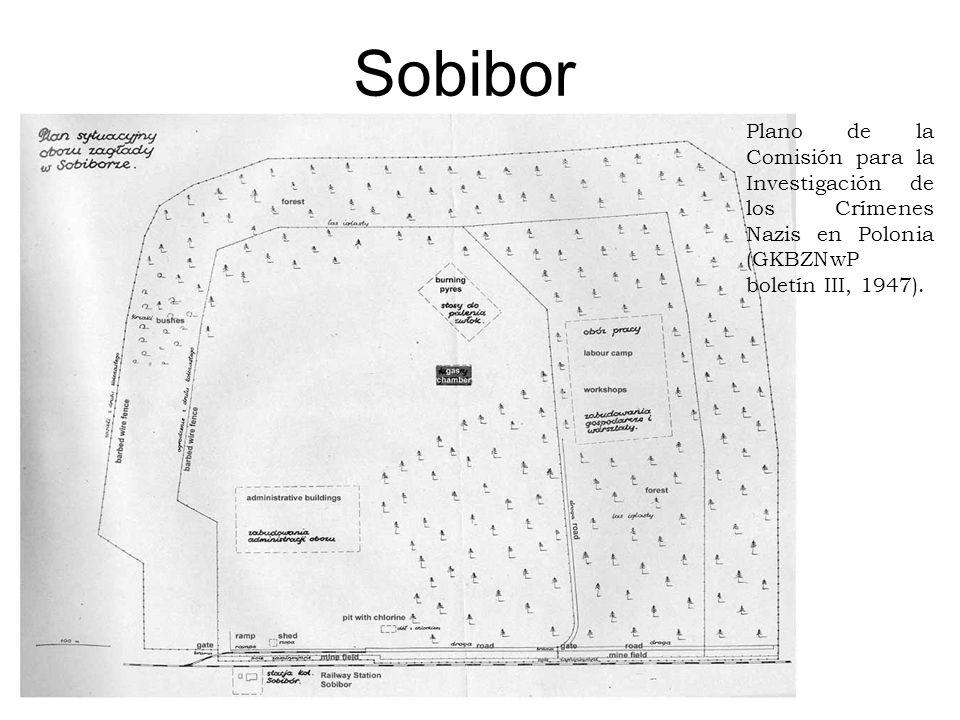 Sobibor Plano de la Comisión para la Investigación de los Crímenes Nazis en Polonia (GKBZNwP boletín III, 1947).