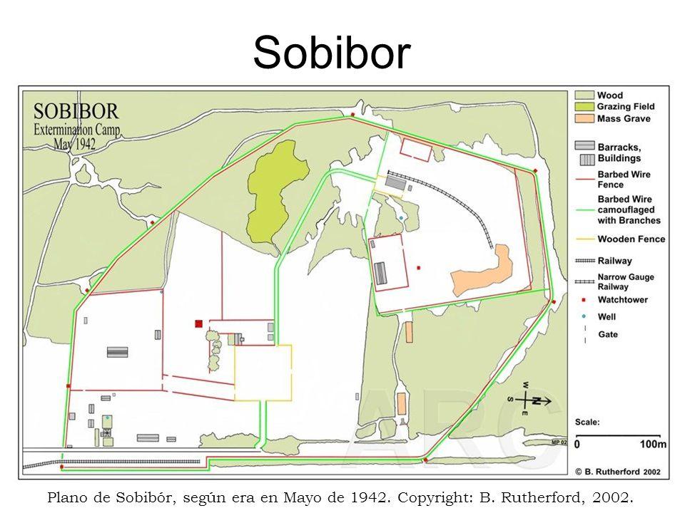 Sobibor Plano de Sobibór, según era en Mayo de 1942. Copyright: B. Rutherford, 2002.