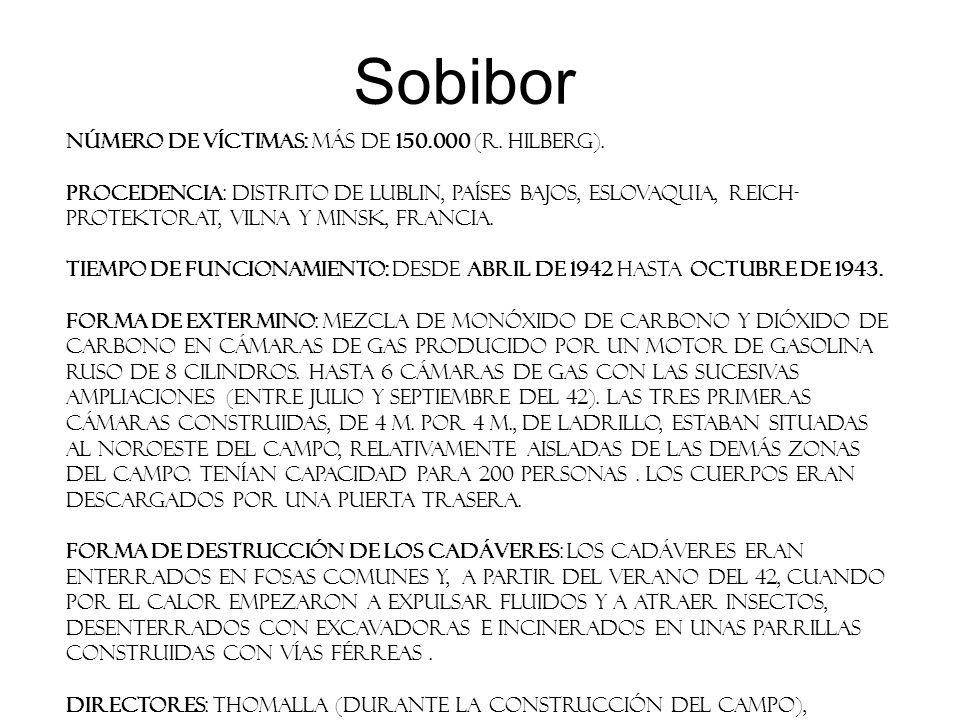 Sobibor Número de víctimas: Más de 150.000 (R. Hilberg). Procedencia: distrito de Lublin, Países Bajos, Eslovaquia, Reich- Protektorat, Vilna y Minsk,