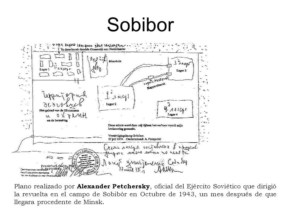 Plano realizado por Alexander Petchersky, oficial del Ejército Soviético que dirigió la revuelta en el campo de Sobibór en Octubre de 1943, un mes des
