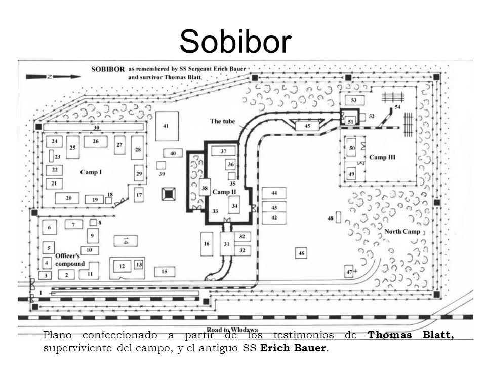 Sobibor Plano confeccionado a partir de los testimonios de Thomas Blatt, superviviente del campo, y el antiguo SS Erich Bauer.