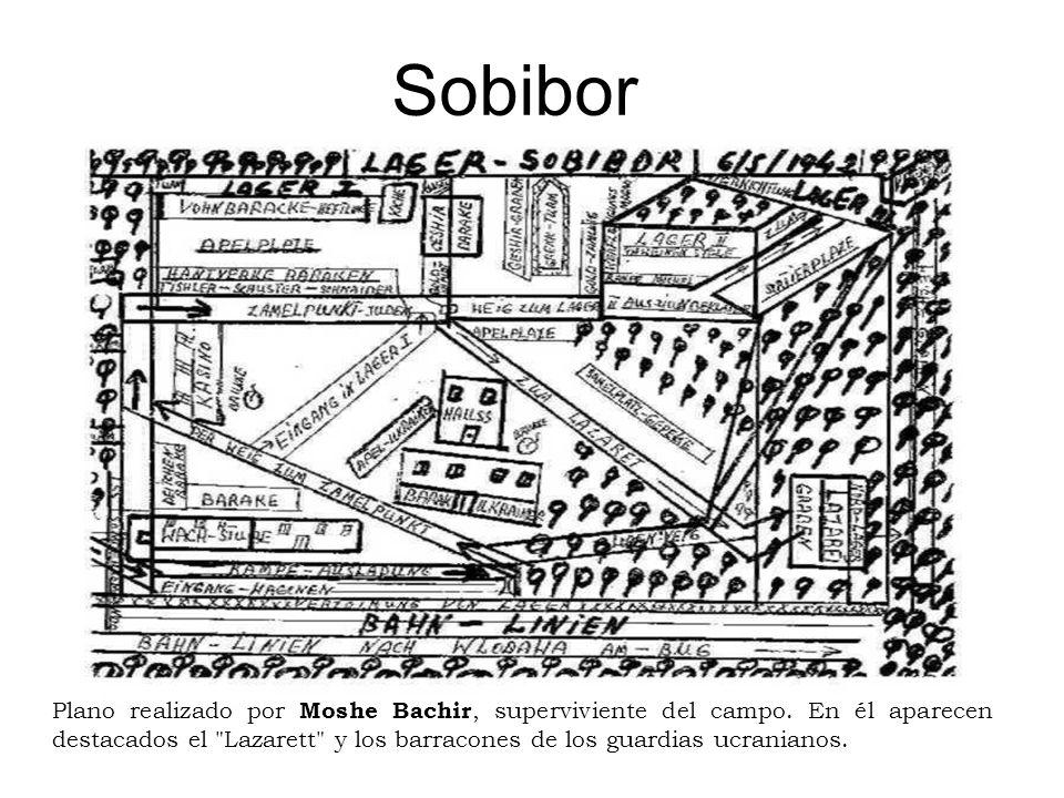 Sobibor Plano realizado por Moshe Bachir, superviviente del campo. En él aparecen destacados el