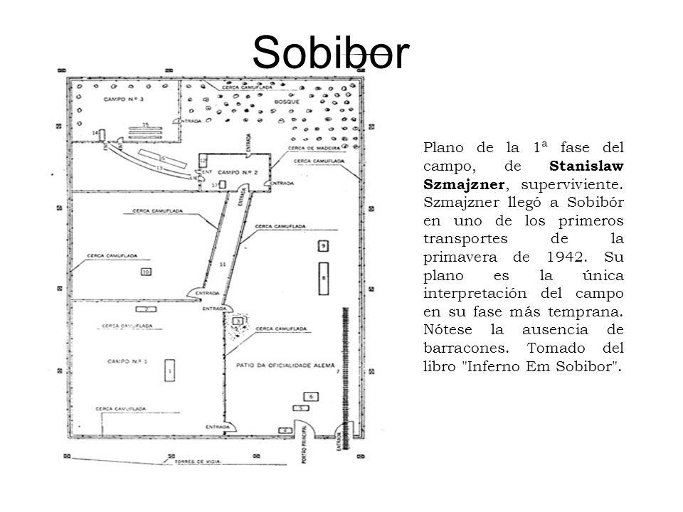 Sobibor Plano de la 1ª fase del campo, de Stanislaw Szmajzner, superviviente. Szmajzner llegó a Sobibór en uno de los primeros transportes de la prima