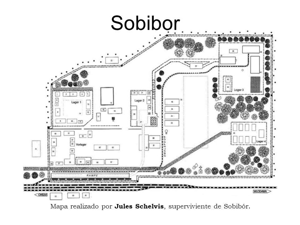 Sobibor Plano dibujado por Chaim Engel, superviviente.