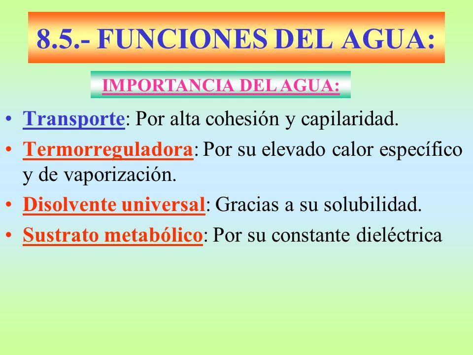 8.5.- FUNCIONES DEL AGUA: Transporte: Por alta cohesión y capilaridad. Termorreguladora: Por su elevado calor específico y de vaporización. Disolvente