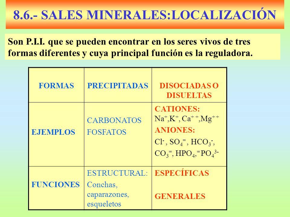8.6.- SALES MINERALES:LOCALIZACIÓN FORMASPRECIPITADASDISOCIADAS O DISUELTAS EJEMPLOS CARBONATOS FOSFATOS CATIONES: Na +,K +, Ca + +,Mg + + ANIONES: Cl