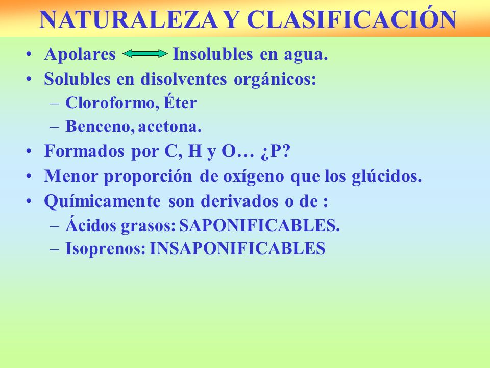 ApolaresInsolubles en agua. Solubles en disolventes orgánicos: –Cloroformo, Éter –Benceno, acetona. Formados por C, H y O… ¿P? Menor proporción de oxí