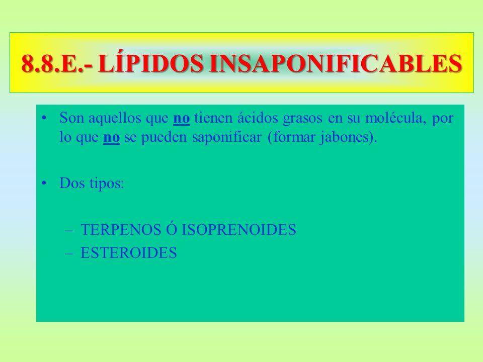 8.8.E.- LÍPIDOS INSAPONIFICABLES Son aquellos que no tienen ácidos grasos en su molécula, por lo que no se pueden saponificar (formar jabones). Dos ti