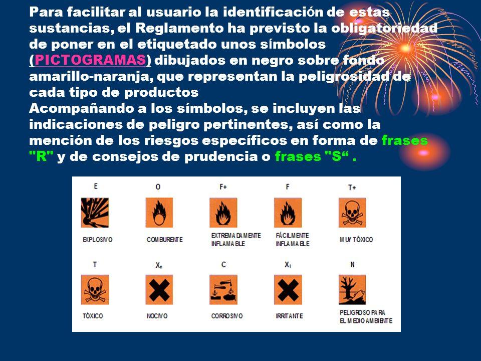 Para facilitar al usuario la identificaci ó n de estas sustancias, el Reglamento ha previsto la obligatoriedad de poner en el etiquetado unos s í mbol