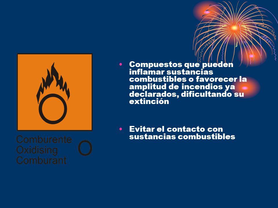 Compuestos que pueden inflamar sustancias combustibles o favorecer la amplitud de incendios ya declarados, dificultando su extinción Evitar el contact