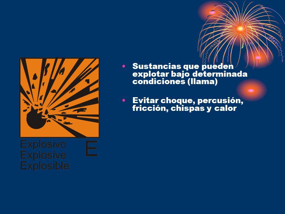 Sustancias que pueden explotar bajo determinada condiciones (llama) Evitar choque, percusión, fricción, chispas y calor