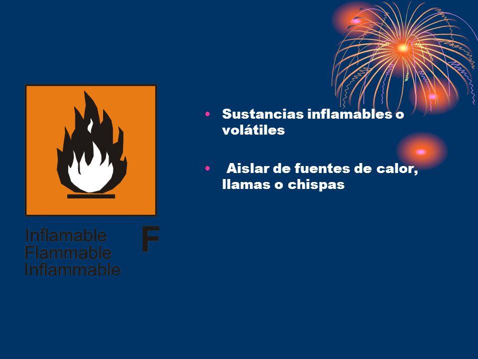 Sustancias inflamables o volátiles Aislar de fuentes de calor, llamas o chispas
