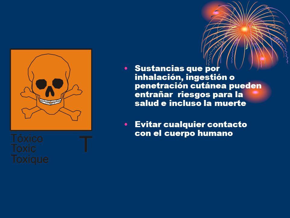 Sustancias que por inhalación, ingestión o penetración cutánea pueden entrañar riesgos para la salud e incluso la muerte Evitar cualquier contacto con